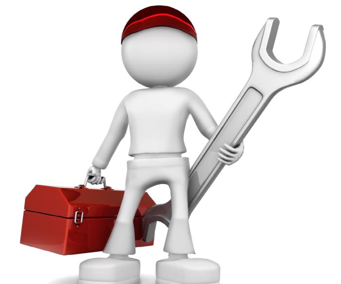 фигура слесаря с гаечным ключом и сундучком в руках
