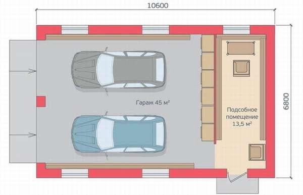 Размер гаража на 2 авто