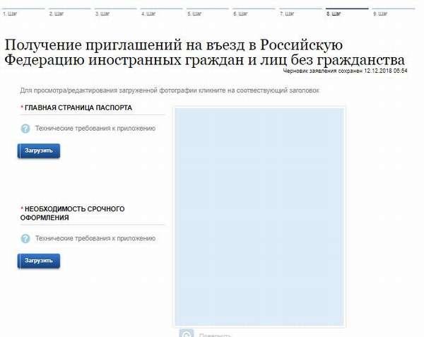 загрузка главной страницы паспорта