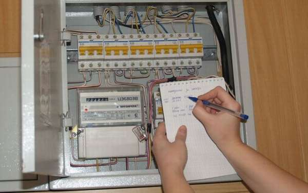 Показания электросчетчика