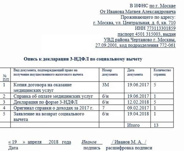 Опись документов в налоговую по требованию образец