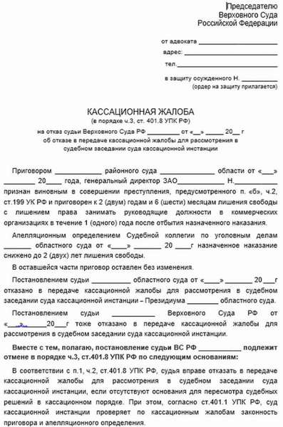 Жалоба председателю Верховного суда РФ по гражданскому делу — образец