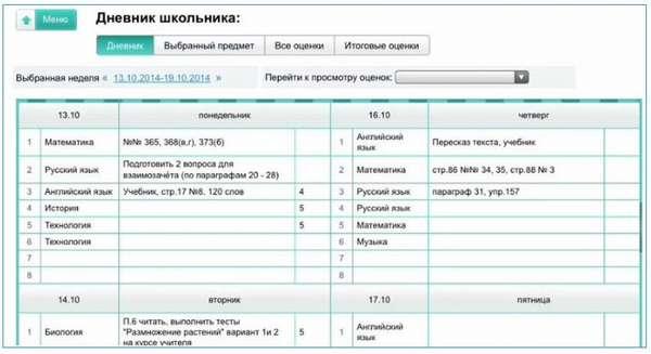 интерфейс электронного дневника