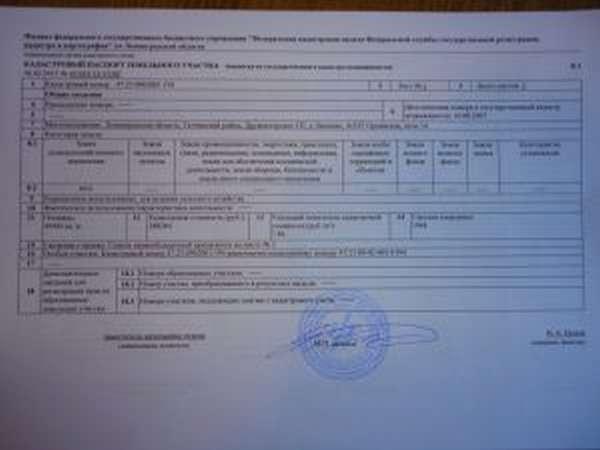 Фото кадастрового паспорта