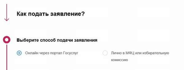 Выбор избирательного участка через «Госуслуги»