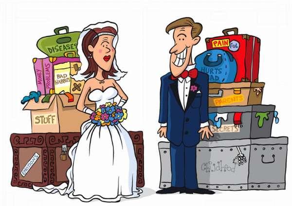 нарисованные жених и невеста с личным имуществом