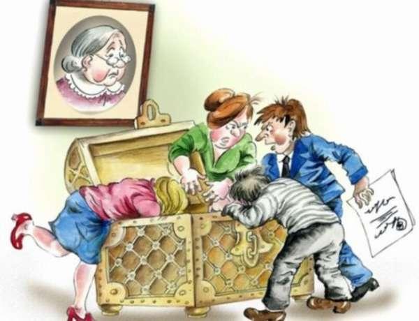 иллюстрация, на которой люди ссорятся и делят наследство
