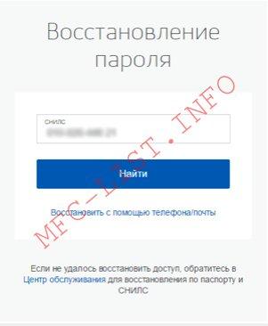 Восстановление пароля на госуслугах по номеру СНИЛС