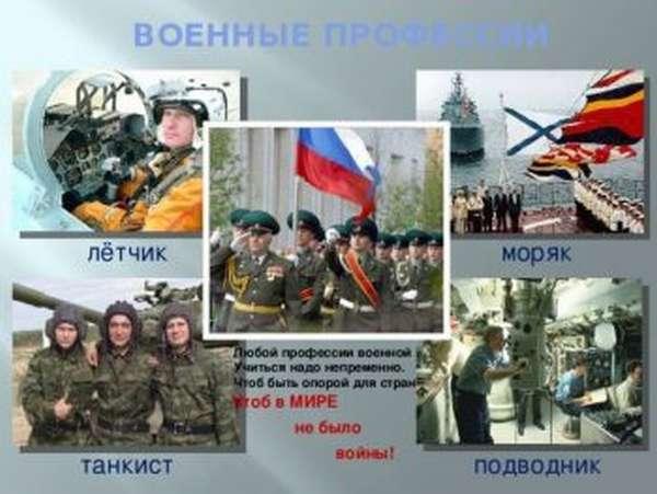 Виды военных профессий