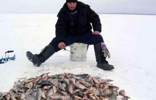 Рыбак на зимней рыбалке